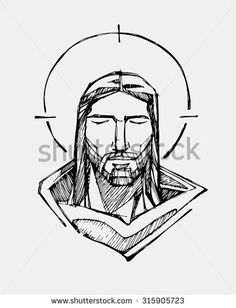 Hand drawn vector illustration or drawing of Jesus Christ Serene Face