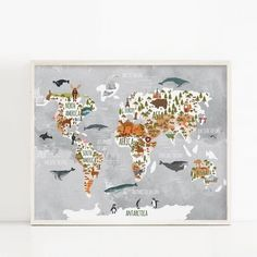 Woodland Animal World Map Poster Art Prints Nursery Decor , Watercolor Map With Animals Canvas Painting For Kids Room Wall Art Canvas Wall Art, Wall Art Prints, Poster Prints, World Map Printable, Neutral Art, Gender Neutral, Kids World Map, Kunst Poster, World Map Poster