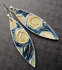 Porcelain Earrings  Starry Night by RoundRabbit on Etsy, $38.00 Think polymer clay