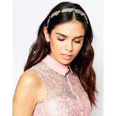 Johnny Loves Rosie Penny Embellished Ribbon Tie Headband (€54) ❤ liked on Polyvore featuring accessories, hair accessories, silver, jeweled headband, silver hair accessories, silver headband, head wrap headband and headband hair accessories