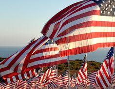 American flags waving.