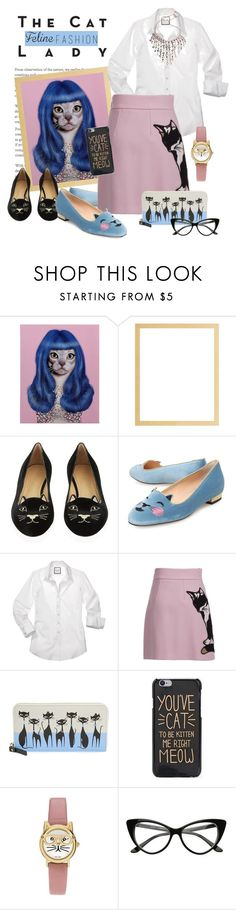 """""""The Cat Lady"""" by joyfulnoise1052 ❤ liked on Polyvore featuring Sessions, Empire Art Direct, Charlotte Olympia, MSGM, Kate Spade, Geneva and catstyle"""