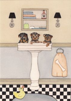 Yorkshire terrier (yorkie) puppies fill sink at bath time / Lynch folk art print #Realism