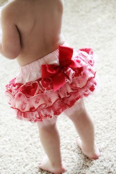 Girls VALENTINE Pink Sweetheart FULLFLUFF Ruffled Bottom Bloomer Diaper Cover