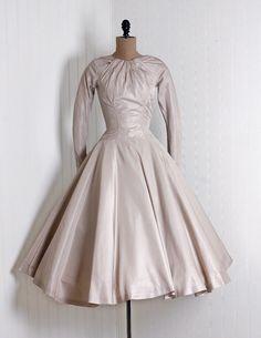 Evening Dress, Estevez for Grenelle: 1950's, champagne tulle-lined silk taffeta.