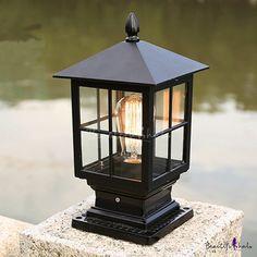 Outdoor Pillar Lights, Outdoor Garden Lighting, Outdoor Post Lights, Fence Lighting, Exterior Lighting, Lighting Design, Classic Lanterns, Bollard Lighting, Patio Steps