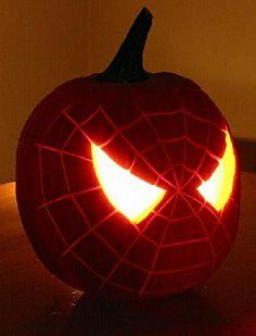 Spider-Man pumpkin design, perfect for Halloween!