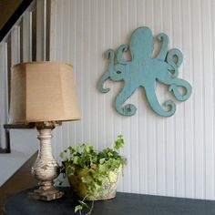 Octopus Wooden Sign Beach Coastal Wall Art (from the Slippin' Southern shop at Etsy.com)