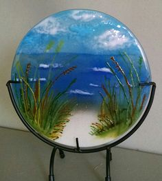 Beach Walk Glass Artwork, Glass Wall Art, Fused Glass Art, Beach Themed Art, Melting Glass, Glass Fusing Projects, Faux Stained Glass, Crushed Glass, Ceramic Design