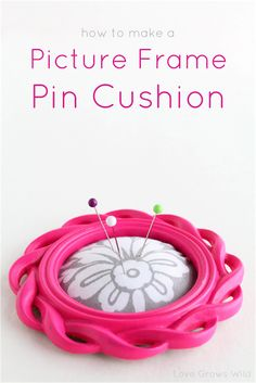 LoveGrowsWild.com | How to make a Picture Frame Pin Cushion! A simple project to help keep your pins together while you sew! #diy #tutorial #sew