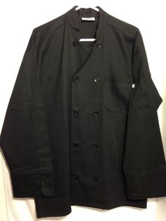 New Chef's Coat by Uncommon Threads Mens Large Black 10 Button #109460  #UncommonThreads