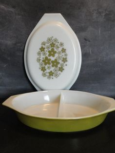Vintage Pyrex Spring Blossom-Crazy Daisy-Divided Dish Casserole-Quart Size-Milk Glass-Green,White on Etsy, $18.00