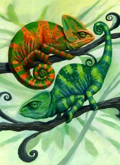 Chameleons by elise Reptiles And Amphibians, Mammals, Chameleon Lizard, Surviving In The Wild, Frog Art, Animal Design, Art Plastique, My Animal, Art For Kids