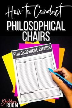 How to conduct philosophical chairs activities in high school | Yaddy's Room High School English, In High School, High School Students, English Teaching Resources, English Teachers, Classroom Resources, Teacher Resources, 4th Grade Ela, Teacher Evaluation