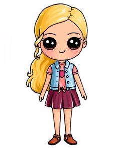 so cute kawaii Kawaii Girl Drawings, Cute Cartoon Drawings, Cute Easy Drawings, Cute Girl Drawing, Cartoon Girl Drawing, Girl Cartoon, Draw So Cute Girl, Draw So Cute People, Cute Drawings Of Girls