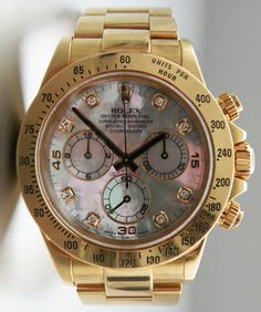 #Rolex #Daytona 116528 Mother of pearl, Diamond Dial #swisswatchdealers - All mother-of-pearl dials are unique pieces. An identical dial will never grace another wrist!