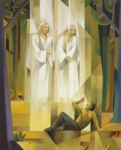 "Jorge Cocco fine art (@sacrocubism) on Instagram: ""Joseph Smith,  the prophet of the restoration.  The First Vision. #josephsmith #lds #jesuschrist…"""