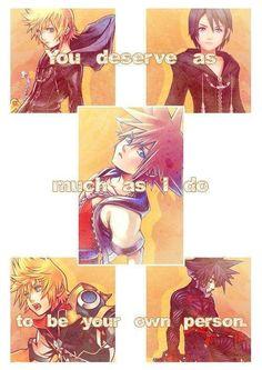 Kingdom Hearts. The 5 that are the same. Roxas. Xion. Sora. Ventus. Venitas. Love them all!