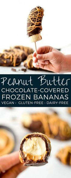Peanut butter chocolate covered frozen bananas.