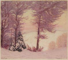✨ Paul Leschhorn (1876-1951) - Winterabend, Farb-Holzschnitt auf Japanpapier, rechts unten signiert, links unten betitelt ::: Winter Evening, Colour Woodcut, 34,8 x 39,4 cm