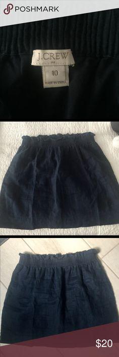 JCrew Skirt Dark navy blue JCrew skirt. Ruffles elastic waistband J. Crew Skirts