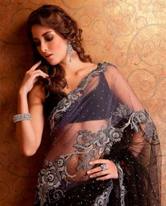 Embroidered net saree by Meena Bazaar Indian Dresses, Indian Outfits, Indian Clothes, Indian Saris, Indian Attire, Indian Wear, Asian Fashion, Fashion Beauty, Indian Look