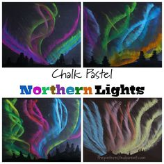 These chalk pastel Northern Lights pictures are super easy and fun for the kids to make and just look at how beautiful they are. Light Painting, Painting For Kids, Art For Kids, Chalk Pastel Art, Chalk Pastels, Chalk Pictures, Pastel Sunset, Sidewalk Chalk Art, Black Acrylic Paint
