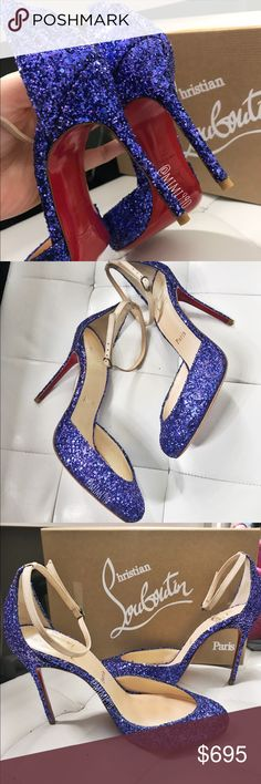 Christian Louboutin Tres Décolleté pumps Christian Louboutin Tres Décolleté Glitter Pumps. An amazing pair of red bottom!! Color is Electric blue/purple. Heels height: 100mm. True to size. (6.5-7) Brand new, never worn, exactly as pictured. 100% authentic. NO TRADE, NO RUDE COMMENTS, NO LOWBALL OFFERS!! $580 Christian Louboutin Shoes Heels