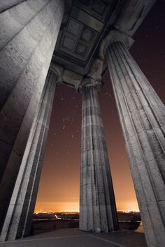 Amazing view of sunset from Walhalla Temple, Regensburg, Germany.