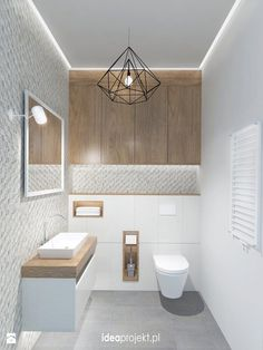 Ideas for bathroom lighting for your home - Ideen Zuhause - Bathroom Decor Guest Toilet, Downstairs Toilet, Bad Inspiration, Bathroom Inspiration, Bathroom Toilets, Small Bathroom, Bathroom Ideas, Bathroom Under Stairs, Handicap Bathroom