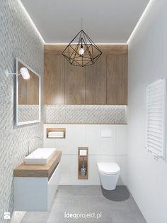 Carrelage blanc et gris texturé, bois, moyen grand petit - Łazienka - Styl Skandynawski - idea projekt
