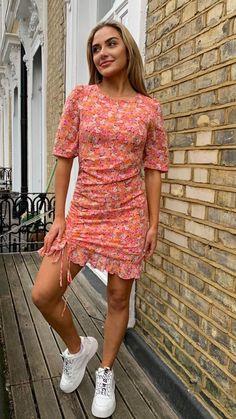 Ruched detail, orange summer dress, orange mini dress, orange dress, summer dress, floral dress Orange Dress, Online Boutiques, Fashion Online, Floral Prints, Short Sleeves, Bodycon Dress, Shirt Dress, Skirts, Model