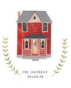 Rebekka Seale House Portraits - for when we settle in Oregon Building Illustration, House Illustration, Watercolor Illustration, Graphic Illustration, Watercolor Art, House Drawing, Little Houses, Creative Studio, Christmas Art