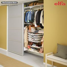 Elfa Classic can be your ticket to the organized and practical entryway closet or mudroom you've always dreamed of. Contact us today for a free custom design! Entryway Closet, Closet Shelves, Mudroom, Entryway Organization, Life Organization, Reach In Closet, Custom Shelving, Custom Closets, Closet System