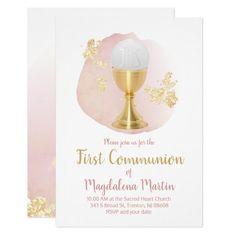 catholic first communion pink blush watercolor invitation   Zazzle.com