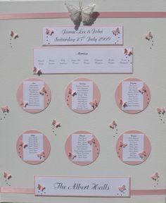 idea tableau de mariage rosa e bianco a tema farfalle