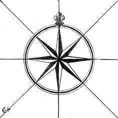 Vintage Map Compass Graphic — Printable Decor