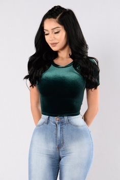 - Available in Black and Hunter Green - Velvet Crop Top - Short Sleeve - Round Neckline - Made in USA - 95% Polyester 5% Spandex