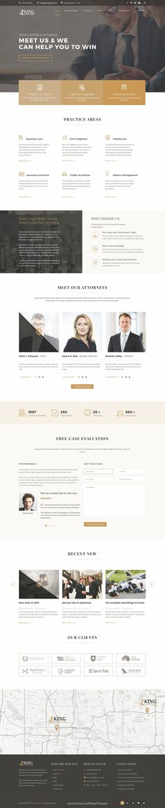 Kinglaw is clean and modern design PSD template for #attorney and #lawyers website with 4 homepage layouts and 23 layered PSD pages to live preview & download click on Visit  #psdtemplates