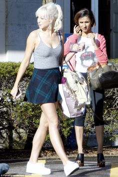 Lots to learn: Helen George and Anita Rani both wore impractical footwear as they arrived at training