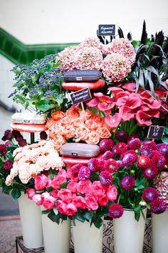 anya hindmarch - yummy flowers - chalkboard stands..