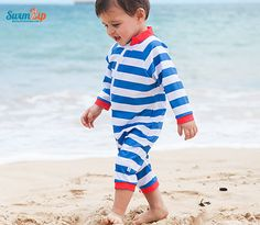 Boy Long Sleeve Sunsuit Romper UV UPF 50+ Crabby Pants | SwimZip Rash Guard Swimwear