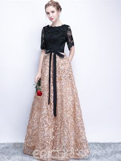 Black Prom Dresses A-line Half Sleeve Long Prom Dress Sexy Evening Dress Short Sleeve Prom Dresses, Black Prom Dresses, Prom Party Dresses, Sexy Dresses, Beautiful Dresses, Fashion Dresses, Dress Prom, Bride Dresses, Gown Dress