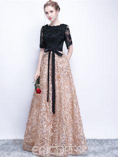 Black Prom Dresses A-line Half Sleeve Long Prom Dress Sexy Evening Dress Short Sleeve Prom Dresses, Black Prom Dresses, Prom Party Dresses, Occasion Dresses, Sexy Dresses, Beautiful Dresses, Fashion Dresses, Dress Prom, Bride Dresses