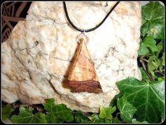 Spalted Alder Wood Necklace Pendant hand crafted unique gift boxed - New Moon…