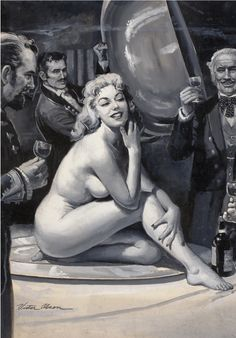 VICTOR OLSON - The Star Attraction, men's magazine - item by finer.ha Pulp Magazine, Magazine Art, Pin Up, Sexy Drawings, Comic Styles, Pulp Art, Types Of Art, Erotic Art, Cover Art