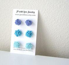 Turquoise Stud earrings flower stud earrings blue by JPwithLove, $18.00