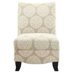 """Accent chair with medallion-print upholstery and foam cushioning.Product: ChairConstruction Material: High density foam, fabric and kiln dried hardwoodColor: PearlFeatures:  Transitional styleWill enhance any settingSleek and relaxing Dimensions: 35"""" H x 24"""" W x 27"""" D"""
