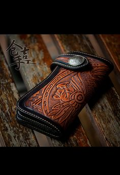 new 2013 handmade leather carving wallet Amerindian by Onlybags