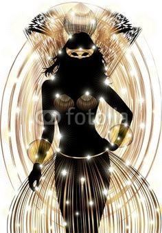 #Golden #Beautiful #Carnival #Party #Girl's #Silhouette from #Brazil! #Vector © bluedarkat   http://it.fotolia.com/id/28978427